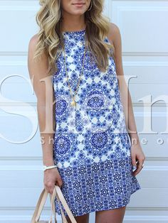 pin to remember site Blue White Sleeveless Vintage Print Dress 17.99