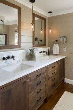 21 Small Bathroom Ideas Which Are Functional. Bathroom ideas home depot. If you hear small bathroom ideas words, you might think about the difficult plan or design to carry on. Meanwhile, designing the small bathroom is simple Rustic Bathroom Designs, Rustic Bathroom Vanities, Modern Farmhouse Bathroom, Rustic Farmhouse, Vanity Bathroom, Bathroom Cabinets, Wall Cabinets, Wood Bathroom, 1950s Bathroom