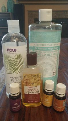 SHAMPOO! •1 C Dr. Bonner's Liquid Castile Soap (unscented) •1 C Vegetable Glycerin •1 Tbsp Almond or Jojoba oil (Jojoba is more moisturizing and I prefer it in the winter) •15-20 drops of Essential Oils (lav, lemon (oily scalp) and cedarwood (dry scalp)