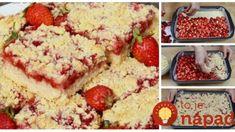 Drobenkový koláč s pudingom a jahodami: Nerobíte žiadne cesto, len nasypať na plech, zaliať pudingom! Krispie Treats, Rice Krispies, Dessert Recipes, Desserts, Cheesecake, Food And Drink, Baking, Fruit, Basket