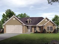 House Plan 49110   Plan with 1635 Sq. Ft., 3 Bedrooms, 3 Bathrooms, 2 Car Garage