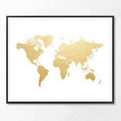 World map print Map print Gold foil Print Gold by ScandiHomeDesign