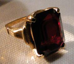 Vintage Vendome Adjustable Dark Ruby Red Stone Cocktail Ring Circa 1969 | eBay