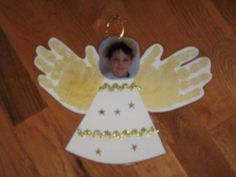 Picture handprint angel ornament