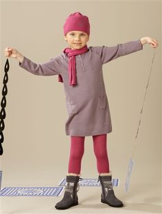 Girls' Dress PINK LIGHT SOLID WITH DESIGN+ORANGE BRIGHT STRIPED+GREY MEDIUM SOLID WITH DESIGN+GREY MEDIUM STRIPED
