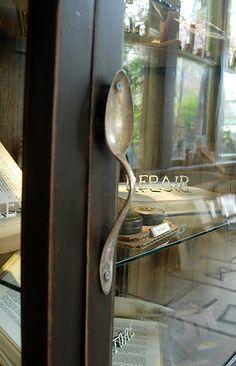 Door or cabinet handle from old spoon