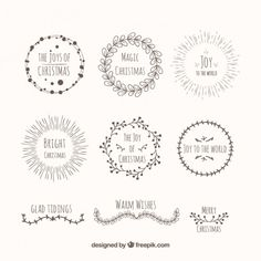 Hand drawn decorative christmas wreaths Free Vector