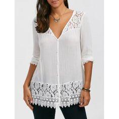 Lace Trim Button Up Tunic Blouse, Lace Trim Button Up Tunic Blouse Occasion: Casual : Style: Casual : Material: Rayon : Shirt Length: Long : Sleeve Length: Three Quarter : Collar: V-Ne. Clothing Sites, Size Clothing, Red Blouses, Blouses For Women, Chiffon Blouses, Cheap Blouses, Tunic Blouse, Tunic Tops, Lace Tops