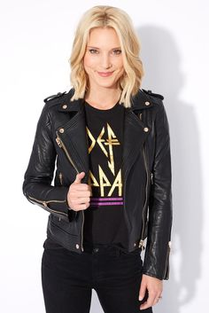 The One Leather Jacket- real leather with gold detailing!