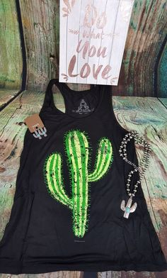 COWGIRL gypsy CACTUS BOHO Tank Top Black  Shirt Western LARGE #BEARDANCE #TANK
