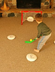 A great way to practice letters with hockey! Practice the alphabet, sight words, a name, or anything with this great game for busy kids!