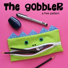 The Gobbler - a free monster pencil case pattern from Shiny Happy World