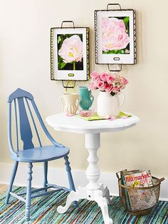 Create spotlight-worthy displays by hanging vintage wire trays lined with favorite pictures.