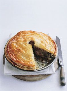 chicken pie    chicken pie     1 quantity (350g shortcrust pastry (see recipe)   375g puff pastry  filling   1 tablespoon oil   2 leeks, chopped   1kg chicken thigh fillets, cut into 2cm (3/4 in) cubes   3 cups chicken stock   ¾ cup (180ml) dry white wine   250g small button mushrooms, halved   2 tablespoons chopped flat-leaf parsley   2 tablespoons cornflour (cornstarch)   ¼ cup (60ml) water   sea salt and cracked black pepper   1 egg, lightly beaten