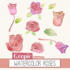 Watercolor roses clip art WATERCOLOR ROSES watercolour by Grepic, $4.70