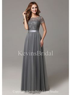 A-Line Modest Fall Open Back Tulle Long Jewel Bridesmaid Dress