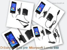 Nové držiaky do auta pre Microsoft Lumia 650. Pasívny držiak Brodit pre pevnú montáž v aute, aktívny s CL nabíjačkou, s USB alebo s Molex konektorom.