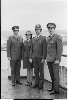 Group modeling new police uniforms. They are (from left) Chief Superintendent B W Gibson. Linda Tideswell, in the new policewomen's uniform. Police Uniforms, Police Officer, Nz History, Kiwiana, All Blacks, What Is Like, New Zealand, Captain Hat