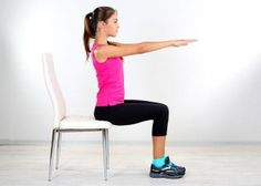 Sit erect. Point the fingers towards the knees. Tighten the abs and lift your toes 3 to 4 inches from the floor. Also lift your butt above the chair. Be in this position till you are comfortable. Try at least for being in this position for 10 seconds. Repeat the same procedure. Do this abdominal hold exercise for 1 minute.