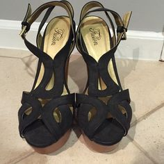Chunky Sandal Heels Never worn! Slight scratch on right heel (pictured) Fusion Shoes Heeled Boots