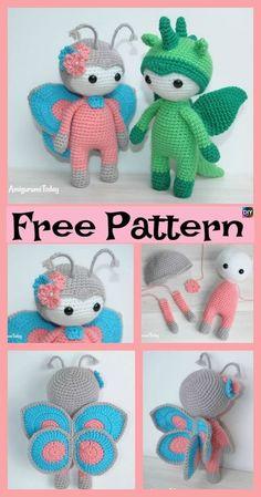 Amigurumi Crocheted Butterfly Doll – Free Pattern #freecrochetpatterns #crochetamigurumi #doll #butterfly #giftidea