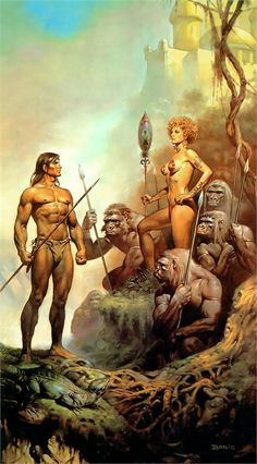 Tarzan and La by Boris Vallejo Boris Vallejo, Fantasy Images, Sci Fi Fantasy, Fantasy Artwork, Fantasy Women, Tarzan Of The Apes, African Jungle, Bell Art, Savage Worlds