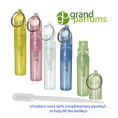 Great Looking 2ml Fine Mist Atomizer Bottles for your Perfumes and Fragrances to attach to your Keychain, or use as Favors and Gifts. Great looking! Easy to use, they just snap together. choose your favorite color or a Combination of Colors. Convo me for a special mix of colors! ♦♦♦♦