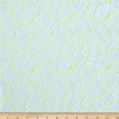 Designer Neon Lace Floral Neon Green/White from @fabricdotcom  Delicate and classic, this lace is crisp and sheer with no significant stretch. With scalloped selvedges on both sides, this lace fabric appropriate for lingerie, overlays on skirts or dresses, feminine apparel accents, and wraps or shrugs.