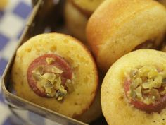 Corn Dog Muffins recipe from Damaris Phillips via Food Network - made - grease the muffin tin. trust me. Dog Muffin Recipe, Muffin Recipes, Bite Size Appetizers, Appetizer Recipes, Hot Appetizers, Potluck Recipes, Party Recipes, Southern At Heart Recipes, Food Network Recipes