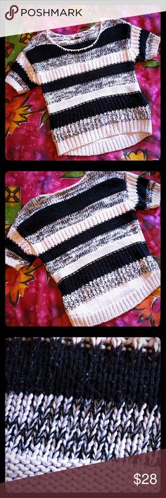 Miss Me sweater size S Cropped black and white sweater with metallic threads running through out the sweater. No damage. Miss Me Sweaters