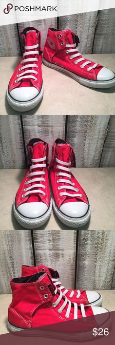 Converse Chuck Taylor All Star High Red No Lace Converse Chuck Taylor All  Star No Lace High Top Sneaker❤ Size 5 Junior❤ Gently loved❤ Gorgeous❤️ ... 86828e0d9