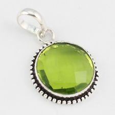 PERIDOT FASHION JEWELRY  .925 SILVER PLATED PENDANT  S5769