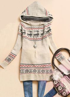 Beige Hooded Long Sleeve Deer Print Sweater Christmas Sweater Dress 8faa475da