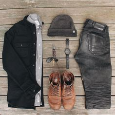 Rugged monochrome - Boots, Layers, Denim - @evanholahan See more inspiration from my Instagram @runnineverlong