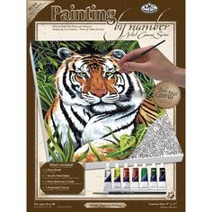 Find amazing Royal & Langnickel Painting by Numbers Small Canvas Painting Set, Tiger in Hiding tiger gifts for your tiger lover. Great for any occasion! Small Canvas Paintings, Your Paintings, Artist Canvas, Artist Painting, Art Sets For Kids, Paint By Number Kits, Silk Screen Printing, Poster Prints, Stress
