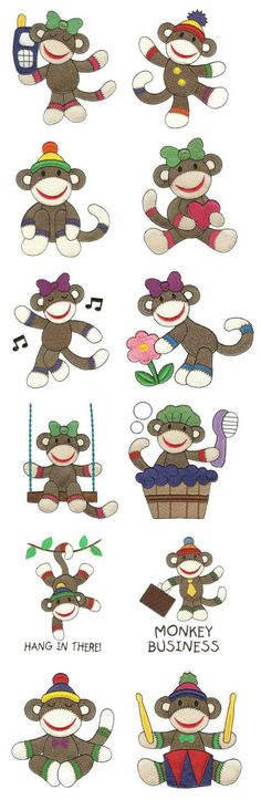 Sock Monkeys Too Filled embroidery design set available for instant download at www.designsbyjuju.com