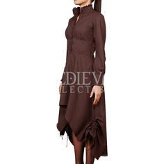 Steampunk High Collar Brown Cotton Dress - VG-0230 by Medieval Collectibles