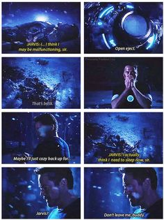 This is so heartbreaking. J.A.R.V.I.S. is really his own character and he's a friend to Tony so it hurts a lot to lose him. It's so much worse to imagine that Tony fashioned him after the Edwin Jarvis he knew as a kid. Augh, my feels!!!