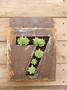 Hand forged house number and planter