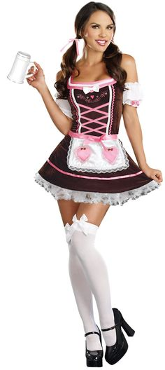 Beer Girl Carrie Me Home Costume, Pink and Brown Beer Girl Costume, German Beer Girl Halloween Costume,