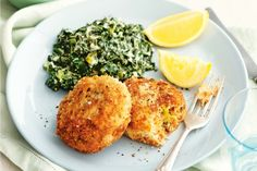 Pair tasty salmon fishcakes with lemony kale for a healthy family meal that the whole family will love.