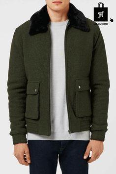 Cazadoras hombres modelo Topman verde #Harrington #Moda #ModaHombre #Hombre #Tendencias