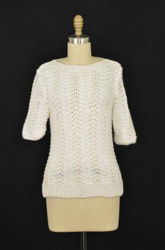 White Crochet Sweater Size S | ClosetDash #crochet #sweater #fashion #style