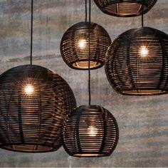 Dark Sangha 50 Pendelleuchte schwarz - ONE Dekor Style Rustic Lighting, Modern Lighting, Lighting Design, Club Lighting, Black Pendant Light, Multi Light Pendant, Rattan Pendant Light, Pendant Lamp, Pendant Lighting