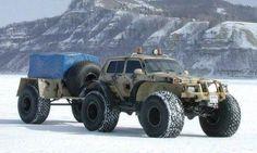 Lada Niva tundra truck and trailer