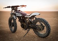 dropmoto: Sweet mother of fun motos. The Swaart Gevaar a. dropmoto: Sweet mother of fun motos. The Swaart Gevaar a 1981 Honda via Cape Towns Yamaha Motorcycles, Custom Motorcycles, Custom Bikes, Moto Scrambler, Moto Guzzi, Enduro Vintage, Vintage Bikes, Cafe Racer Bikes, Cafe Racers
