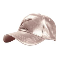 Feather Embroidery Faux Leather Baseball Hat Pink (110 RON) ❤ liked on Polyvore featuring accessories, hats, zaful, ball cap hats, pink ball cap, faux leather hat, embroidered ball caps and baseball cap hats
