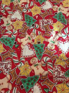 Mary Engelbreit Christmas Fabric Cookies Gingerbread Scottie Tree Candy Cane  | eBay