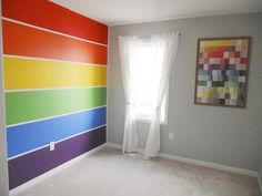 Molly's Rainbow Room Love the rainbow wall for my son's room - and the artwork can be made from paint chips that are then framed Rainbow Bedroom, Rainbow Wall, Rainbow Room Kids, Rainbow Kitchen, Rainbow House, Rainbow Nursery, Rainbow Theme, Chambre Nolan, Girls Furniture