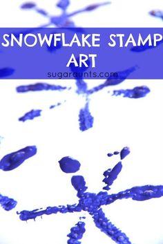 Snowflake Stamp Art 25+ Indoor Winter Activities for Kids | NoBiggie.net